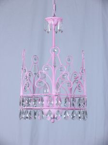 Crown Shaped Pink Wrought Iron Interior Crystal Pendant Light pictures & photos