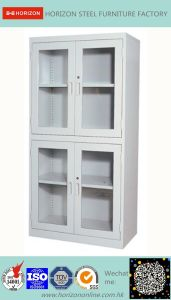 Steel High Storage Cabinet Office Furniture with Double Swinging Steel Framed Glass Doors and Replaceable Lock/File Cabinet pictures & photos