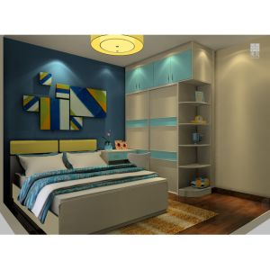 Home Design White and Blue Lacquer Color Contrast Sliding Wardrobe pictures & photos