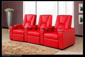 Living Room Cineam Furniture Sectional 3seat Recliner Sofa in Red Color pictures & photos