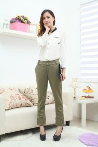 Stock! Olive Green Ladies Pants pictures & photos