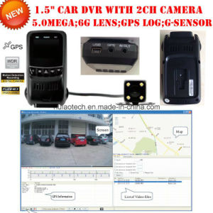 Mobile Car DVR with Dual Camera 2 Channel Car Digital Video Recroder with GPS Tracker Tracking Route Car Black Box, 5.0mega HD1080p Car Parking Control Camera pictures & photos