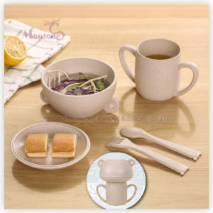 Wheat Straw Food Storage Container Set with Spoon 14*12*16cm pictures & photos