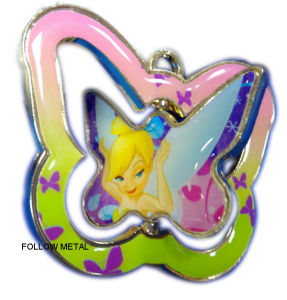 Spinning Keychain with Printing Sticker and Epoxy Lovely Girl Design