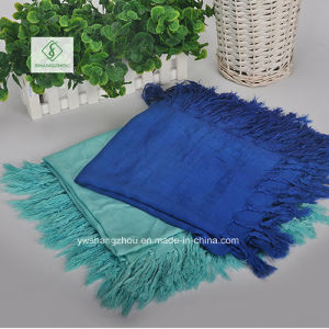 2017 Lady Fashion Square Satin Cotton Plain Scarf with Tassel pictures & photos