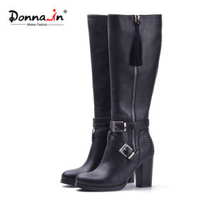 Lady Tassels Leather Shoes Buckle-Strap High Heels Women Boots Shoes