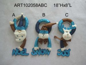 Santa, Snowman and Moose Christmasdecoration Doorknob 3 Asst pictures & photos
