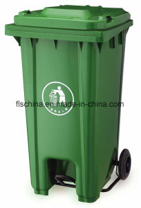 Virgin HDPE Material of 240L Plastic Mobile Garbage Bin with Middle Pedal (FLS-240L/HDPE/EN840) pictures & photos