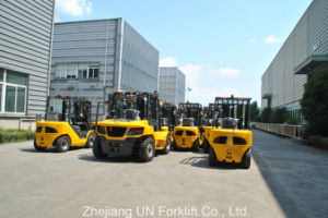Heavy Duty 9.0t Capacity 9000kg Automatic Fork Positioner Diesel Engine Lifting Forklift pictures & photos