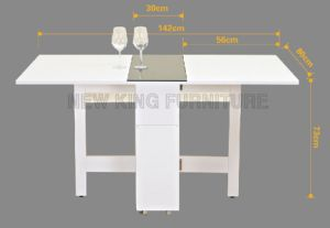 Home Furniture Wooden Movable Folding Dining Table for 4 Seaters (NK-DTB097) pictures & photos
