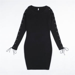 Ladies Fashion Sexy Slim Long Sleeves Hollow Bandage Dress pictures & photos