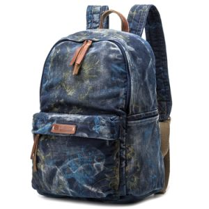 Most Popular Canvas Leather Backpack for Girl Fashion School Bag pictures & photos