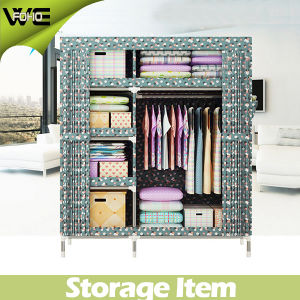 Bedroom Fabric Furniture Storage Very Double Canvas Wardrobe pictures & photos