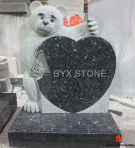 Blue Granite Child Headstone Bear Carving Headstone with Heart pictures & photos