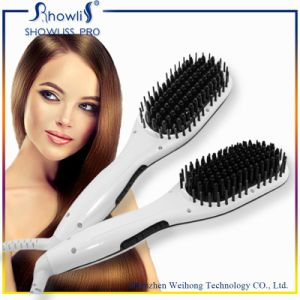 2016 New Item OEM 2 in 1 Ionic Hair Straightening Brush with LCD Display FCC CE RoHS