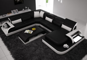 Modern Living Room White Leather LED Light Sectional Sofa (HC1093) pictures & photos