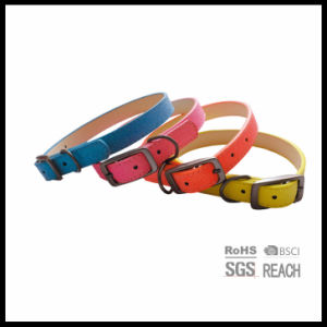 Fashion Designer Colorful Real Cow Plain Leather Dog Collars pictures & photos