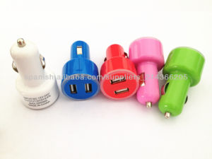 High Quality Double USB Car Charger 5V 2.1A+1A Colored Mini 2 Ports Car Charger for Mobile Phone pictures & photos