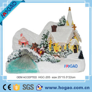 2016 New Christmas Decorative Resin House with LED Light pictures & photos