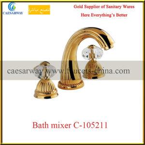 Sanitary Ware Golden Bathroom 3 Way Wash Bathtub Faucet pictures & photos