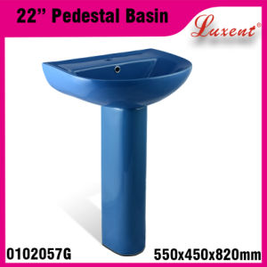 Porcelain Vireous Colourfull Two Piece Hand Wash Pedestal Basin