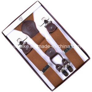 High Quality 4 Clips Men Suspender Genuine Leather Fittings pictures & photos