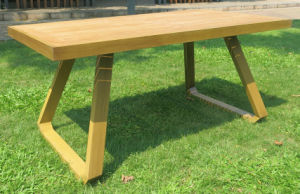 Outdoor Garden Aluminum Teak Wood Dining Table (DT-06165R) pictures & photos