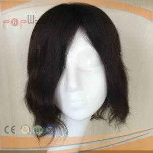Human Hair Hand Tied Lace Base PU Border off Black Color Toupee Wig pictures & photos