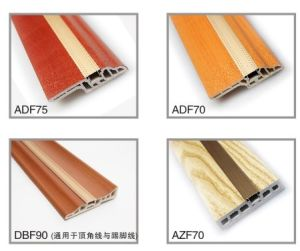 Wood Luxious Skirting PVC Decorated by Alumium Insert pictures & photos
