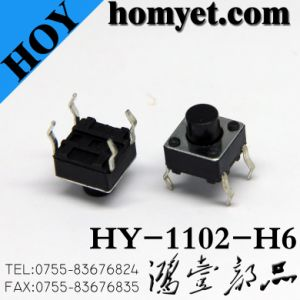 4 Pin DIP Tact Switch Push Button Tactile Switch with 6*6mm Round Handle (HY-1102-H5) pictures & photos