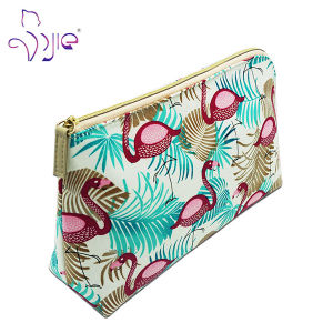 100% Cotton Blue Printing Zip Hot Sales Makeup Cosmetic Bag