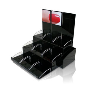 3 Tiers Acrylic Display Rack with Dividers, Nail Polish Exhibition Display Stands pictures & photos