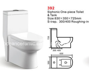Ceramic One-Piece Toilet (No. 392) Siphonic Toilet 300/400mm Roughing-in pictures & photos