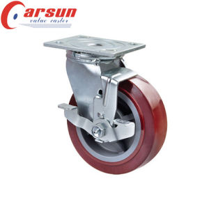 5inches Heavy Duty Swivel PU Wheel Caster (with metal side brake) pictures & photos
