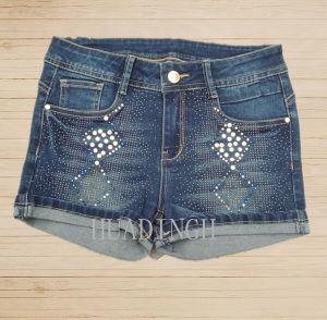Hot Sell Fashion Summer Woman′s Ladies Blue Denim Pants Denim Jeans Hdlj0057 pictures & photos