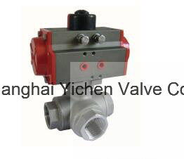 Pneumatic Threaded Tee Ball Valve (Q614(5)F) pictures & photos