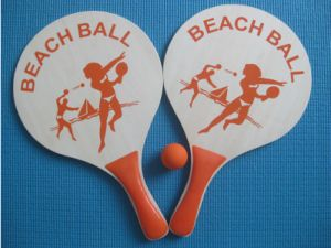 High Quality Wooden Beach Tennis Rackets Set Will Ball pictures & photos