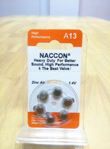 Non-Rechargeable Zinc Air 1.4V A13 280mAh Hearing Aid Button Cell Battery pictures & photos