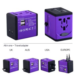 Newest Au/Us/UK/South Africa Plug Travel Charger for Worldwide Use Two USB Output 2500 Ma