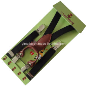 Fashion Genuine Leather Fittings Children Elastic Suspender 4 Clips pictures & photos
