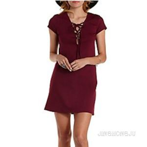 Ladies Woven, Short Sleeve Lace-up, Evening and Party Shift Dress