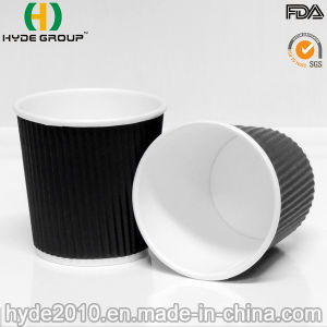 Wholesale 4oz/100ml Black Ripple Wall Hot Paper Coffee Cup pictures & photos