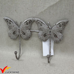 Triple White Antique Metal Butterfly Hooks for Wall pictures & photos