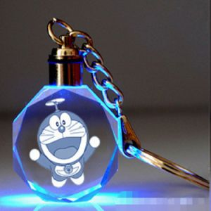 LED Laser Glass Gift Crystal Glass Keychain for Souvenir Gifts pictures & photos
