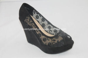 Mesh Upper Wedge Design Fashion Dress High Heel Lady Shoes pictures & photos