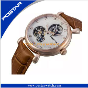 High Quality Skeleton Mechanical Watch with Genuine Leather Band pictures & photos