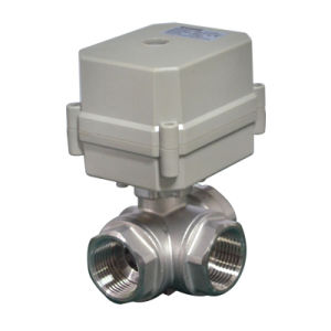 3 Way Horizontal L Type Stainless Steel 304 Electric Actuated Water Ball Valve pictures & photos