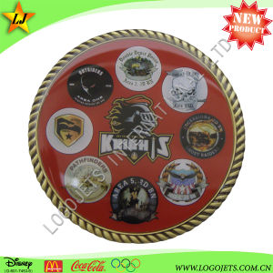 Souvenir Challenge Coin with Logo Printed on Sticker and Rope Edge