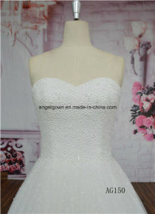 Delicated Personal Ordered Ivory Long Train with Crystal Wedding Gown pictures & photos