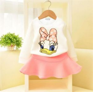 Girl′s Fashion Skirt Suit with Donald Printing in Spring Kd2327 pictures & photos